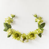 Vue avec des roses, feuilles de fleurs et butterflay verts sur le fond blanc Photographie stock libre de droits