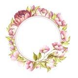 Vue avec des roses Illustration d'aquarelle d'aspiration de main Photographie stock libre de droits
