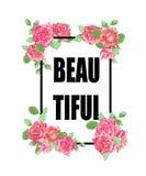 Vue avec des roses pour la copie avec le slogan BEAU Images libres de droits