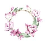 Vue avec des tulipes Illustration d'aquarelle d'aspiration de main Image libre de droits