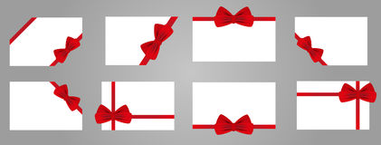 Vue avec l'arc et le ruban rouges Ensemble d'éléments pour le desig de vacances Photo stock