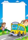 Vue avec l'autobus scolaire et le garçon illustration de vecteur