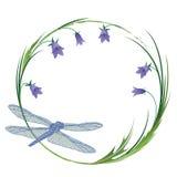 Vue avec la libellule et les blubells illustration de vecteur