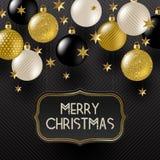 Vue avec la salutation de Noël, les étoiles d'or et les babioles de Noël d'or de noir, de blanc et de scintillement illustration de vecteur