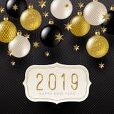 Vue avec la salutation 2019 de nouvelle année, les étoiles et les babioles d'or de vacances d'or de noir, de blanc et de scintill illustration de vecteur