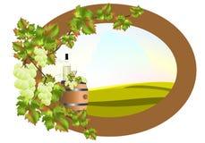 Vue avec le baril de vigne et de vin illustration de vecteur