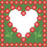 Vue avec le coeur et les fleurs Photo libre de droits
