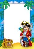 Vue avec le corsaire et le coffre nobles Photo libre de droits