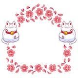 Vue avec le neko et les fleurs de maneki Image stock