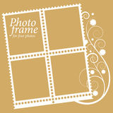 Vue avec les éléments floraux pour quatre photos. vecteur Photo stock