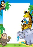 Vue avec les animaux africains heureux Photographie stock