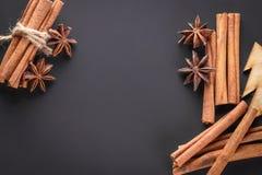 Vue avec les bâtons de cannelle et l'anis d'étoile sur un fond foncé Image stock