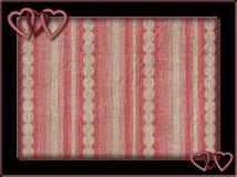 Vue avec les coeurs et le fond roses Photos stock