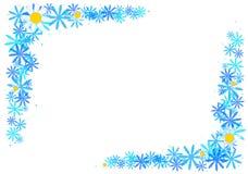 Vue avec les fleurs bleues Image libre de droits