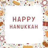 Vue avec les icônes plates de conception de vacances de Hanoucca avec le texte dans l'engli