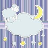 Vue avec les moutons mignons Photo stock