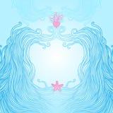 Vue avec les ondes, le coeur et les étoiles de mer illustration libre de droits