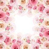 Vue avec les roses roses et blanches Vecteur EPS-10 illustration libre de droits