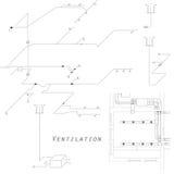 Vue axonométrique du système de ventilation Conception de vecteur pour la CAHT Les conduits sur le plan Images stock