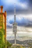 vue Barcelone d'antenne de télévision de colline de Tibidabo, Image stock