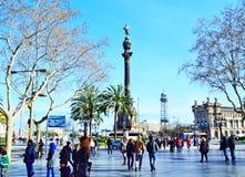Vue Barcelone de rue de Rambla de La Photographie stock