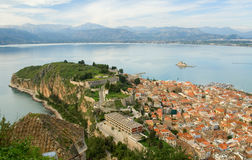 Vue Bird's-eye de centre de Nafplion Photo libre de droits