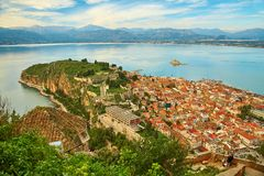 Vue Bird's-eye de centre de Nafplion Photographie stock