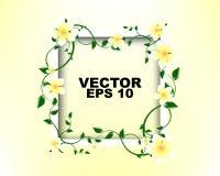 Vue blanche avec la conception blanche de calibre de fleurs de jaune Photo libre de droits