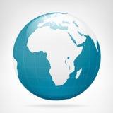 Vue bleue de la terre de l'Afrique Images libres de droits