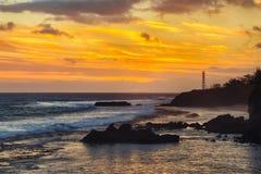 Vue côtière au coucher du soleil Photo libre de droits