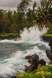 Vue côtière le long de la route à Hana, Maui Photos stock