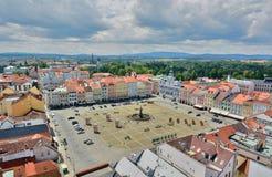Vue carrée d'Ottokar II de la tour noire Jovice de› d'ÄŒeské BudÄ République Tchèque photos stock