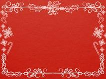 Vue carte de voeux pour de Noël et de nouvelle année sur le fond rouge Images libres de droits