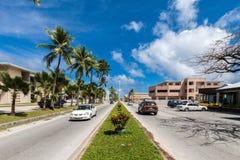 Vue centrale de boulevard de ville de Majuro District des affaires central, M photos stock