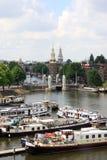 Vue chez l'Oosterdok à Amsterdam, Pays-Bas Photo stock