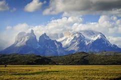 Vue classique des tours en parc national de Torres del Paine, PA Photographie stock libre de droits