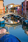 Vue colorée de Burano Photo stock