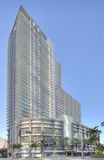 The VUE condominium Brickel Florida. MIAMI FLORIDA-DECEMBER 27: The Vue at Brickell was built in 2004 and consists of condos, restaurants, and retail stores. On stock photos