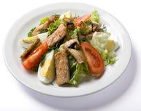 Salade de viande servie du plat blanc Image libre de droits