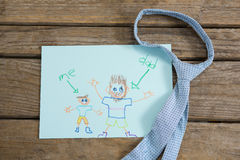 Vue courbe de carte de voeux de jour de pères avec la cravate Photo libre de droits