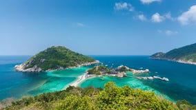 Vue courbe de Koh Nangyuan en Thaïlande Photo libre de droits