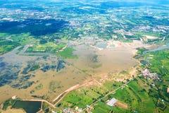 Vue courbe de l'avion montrant le secteur d'inondation photo stock