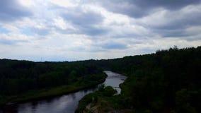 Vue courbe de la rivière débordante calme entourée par les forêts vertes luxuriantes sous le ciel nuageux banque de vidéos