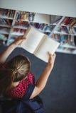 Vue courbe de livre de lecture attentif d'écolière dans la bibliothèque Photos libres de droits