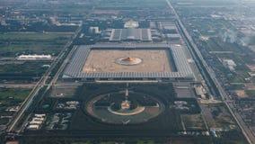 Vue courbe de temple de Wat Phra Dhammakaya, Bangkok, thaila Images stock