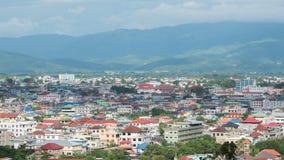 Vue courbe de ville de Tachileik Grande ville pour le commerce frontalier à Photos libres de droits