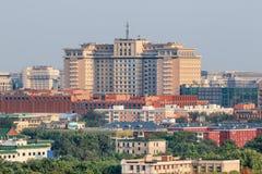 Vue courbe sur l'hôtel de Pékin, Chine Photo stock