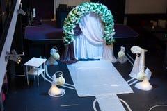 Vue courbe sur la conception de cérémonie de mariage Images stock