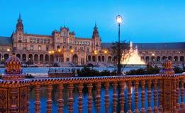 Vue crépusculaire de Plaza de Espana Photographie stock