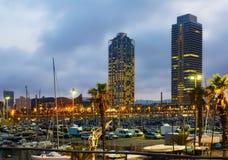 Vue crépusculaire de port Olimpic Image stock